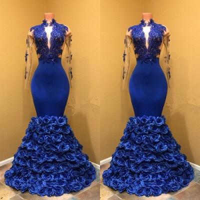 High Neck Mermaid Prom Dress UK, Flowers Prom Dress UK BA8227_3