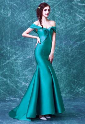 Newest Off-the-shoulder Mermaid Prom Dress UK Sweep Train Zipper_1