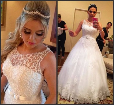 Pretty Sleeveless Tulle Princess Wedding Dress Lace With Pearls_3