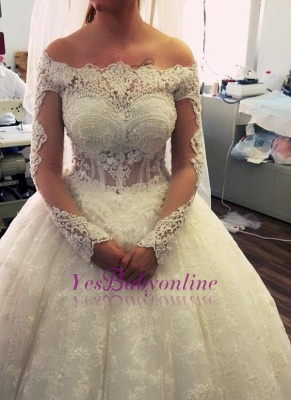 Ball-Gown Off-the-Shoulder Amazing Lace Pearls Long-Sleeves Wedding Dresses UK_2