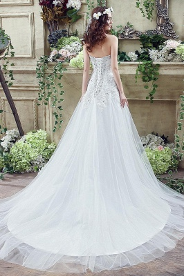 Elegant Sequined Lace Tulle Wedding Dress Court Train Lace-up_5