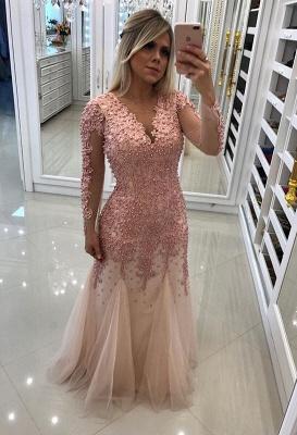 Sexy Long Sleeve Pink Evening Dress UK | 2019 Mermaid Beadings Lace Prom Dress UK_1