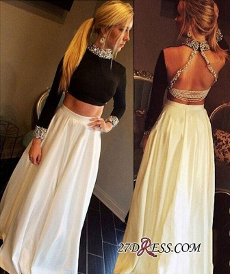 High-Neck Crystal Elegant A-Line Long-Sleeves Two-Pieces Prom Dress UK qq0255_3