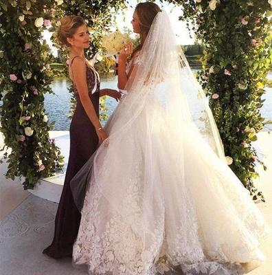 Elegant Cal Sleeve Wedding Dress 3D Floral Appliques Princess Bridal Gowns Tulle_3