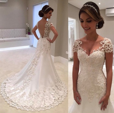 Long Sexy Mermaid Lace Gorgeous Cap-Sleeve Wedding Dress cc0023_4
