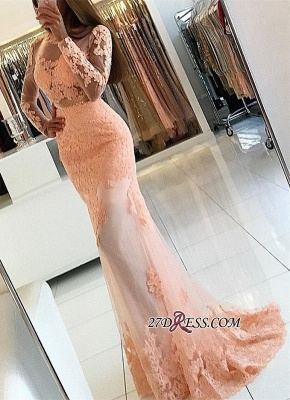 Newest Mermaid Lace-Appliques Long-Sleeve High-Neck Prom Dress UK_3