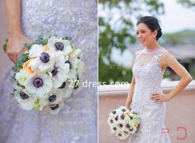 Sequins Wedding Sexy Mermaid Lace Wedding Dresses UK Beaded Bateau Applique Pearls Back  Dress_5