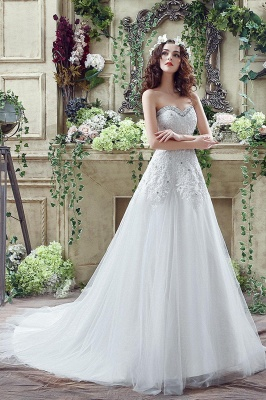 Elegant Sequined Lace Tulle Wedding Dress Court Train Lace-up_7