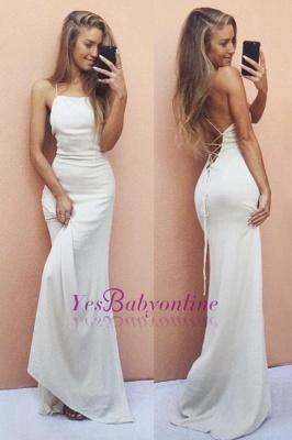 Backless Sleeveless White Elegant Spaghetti-Strap Mermaid Prom Dress UK SP0321_3