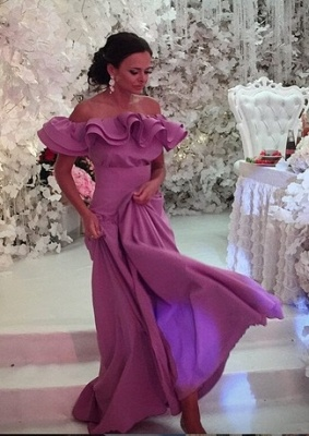 Sexy Lavender Long Off-The-Shoulder Sexy Ruffles Evening Dress UK_3