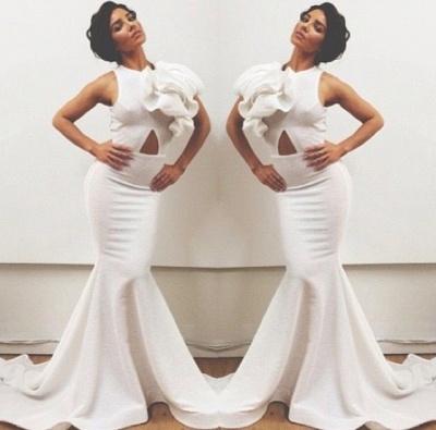 Train Elegant Prom Dress UKes UK with White Jewel Sleeveless Flower Mermaid Satin Sweep Evening Gowns_2