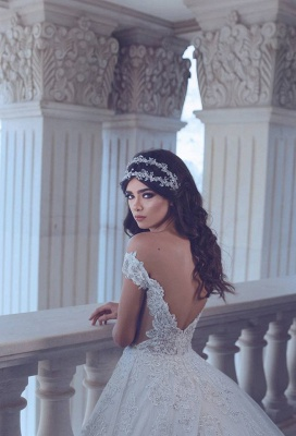 Chic Lace Off-the-Shoulder Wedding Dress Backless Long Beadss Bridal Gowns With Train_4