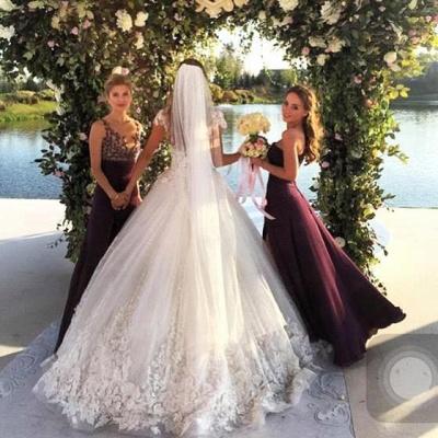 Elegant Cal Sleeve Wedding Dress 3D Floral Appliques Princess Bridal Gowns Tulle_4