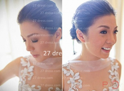 Sequins Wedding Sexy Mermaid Lace Wedding Dresses UK Beaded Bateau Applique Pearls Back  Dress_2