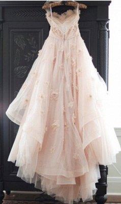 Spaghetti Sleeveless Tulle Wedding Dress With Flowers BA1496_1
