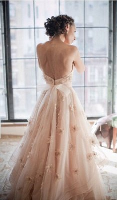 Spaghetti Sleeveless Tulle Wedding Dress With Flowers BA1496_2