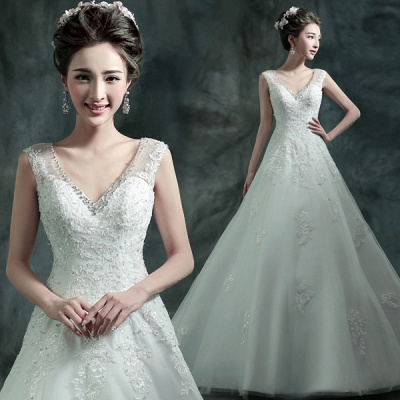 Gorgeous Sleeveless V-Neck Lace Appliques Wedding Dresses UK Long Train With Beadss_3