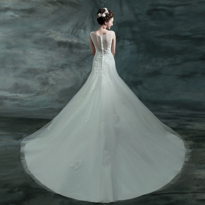 Gorgeous Sleeveless V-Neck Lace Appliques Wedding Dresses UK Long Train With Beadss_4