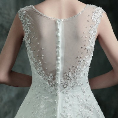 Gorgeous Sleeveless V-Neck Lace Appliques Wedding Dresses UK Long Train With Beadss_6