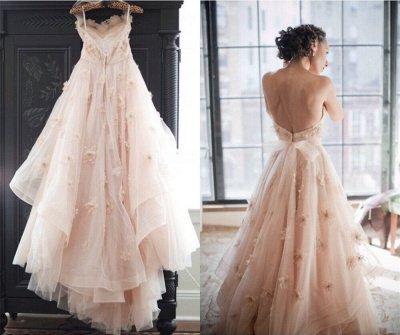 Spaghetti Sleeveless Tulle Wedding Dress With Flowers BA1496_3