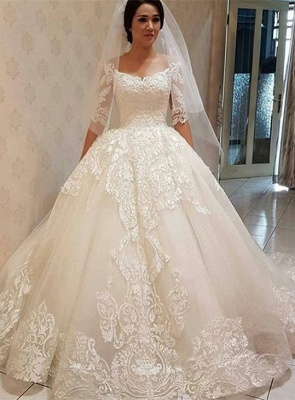 Elegant Ball Gown Lace Off-the-shoulder Half Sleeve Wedding Dress_1