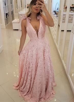 Luxury Pink V-Neck 2019 Prom Dress UK   Lace Evening Dress UK Long_1