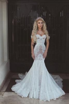 Modern Off-the-Shoulder Sweetheart Lace Sexy Mermaid Wedding Dress On Sale BA7275_3