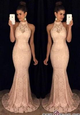 Lace Sleeveless Sweep-Train High-Neck Sexy Mermaid Prom Dress UK BA6117_2