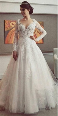 Delicate Lace Appliques Tulle Wedding Dress Button Zipper Back Long Sleeve_1