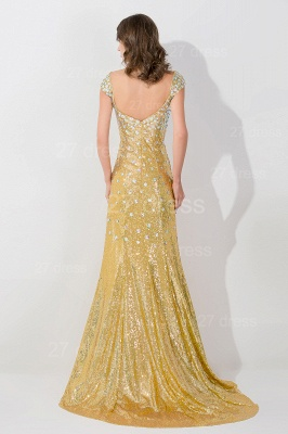 Gorgeous Mermaid Sequins Crystals Evening Dress UK Sweep Train_3