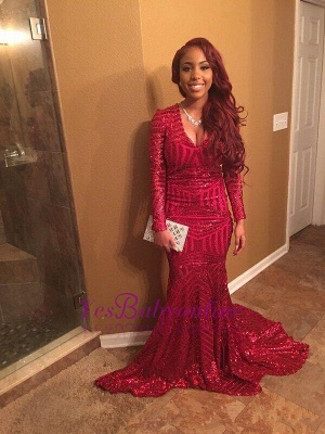Elegant Red V-Neck Sequins Prom Dress UKes UK Long Sleeve Mermaid BK0_1