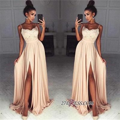 Long Split Lace Chiffon Luxury Spaghetti-Straps Prom Dress UK_1