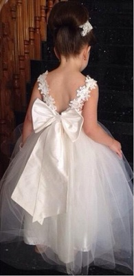 Delicate Tulle Lace Appliques Flower Girl Dress With Bowknot_2