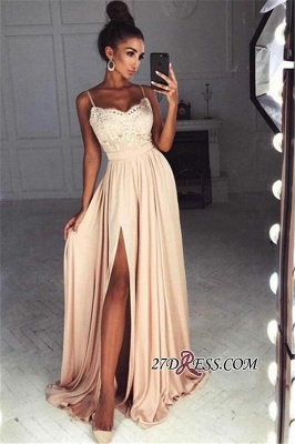 Long Split Lace Chiffon Luxury Spaghetti-Straps Prom Dress UK_2