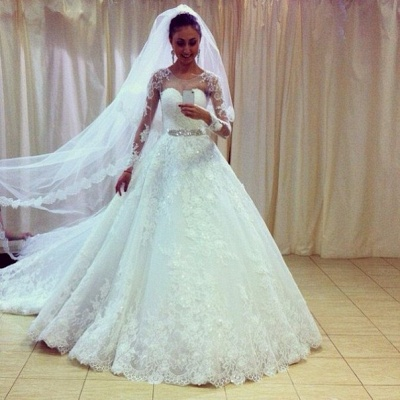 Gorgeous Lace Princess Wedding Dresses UK Appliques With Sleeve_3