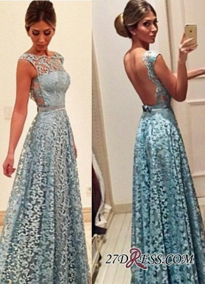 Newest A-line Bow Lace Floor-length Backless Evening Dress UK_1