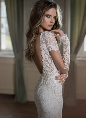 Modern Bateau Cap Sleeve Sexy Mermaid Wedding Dress Open Back With Lace Beadss_2
