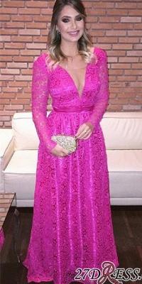 Lace Backless Natural Long-Sleeve Fuchsia V-Neck A-Line Evening Dress UKes UK_1