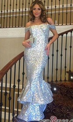 Elegant Off-The-Shoulder Sparkly Ruffles Mermaid Silver Sequins Evening Dress UK_1
