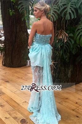 Strapless Sheath Lace Appliques Luxury Evening Floral Long-train Blue Dress UKes UK_2