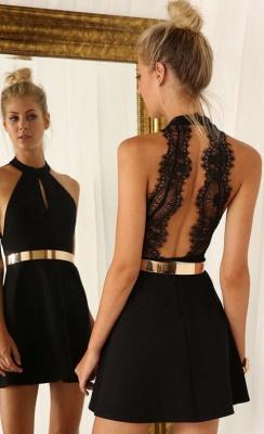 Elegant Black Halter Lace Sleeveless Homecoming Dress UK With Golden Sash_1