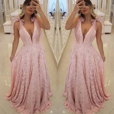 Luxury Pink V-Neck 2019 Prom Dress UK   Lace Evening Dress UK Long_4