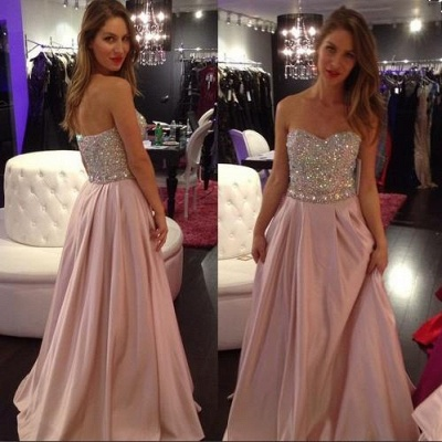 A-line Sexy Sweetheart-Neck Crystals-Top Long Pink Prom Dress UKes UK_1