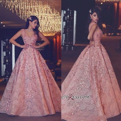 Flowers Luxury Lace Beading V-Neck Puffy Pink Evening Gowns_3