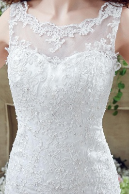 Timeless Sexy Mermaid Lace Wedding Dress Zipper Button Back Sweep Train_3