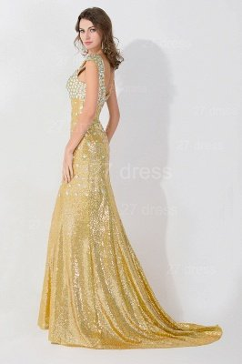 Gorgeous Mermaid Sequins Crystals Evening Dress UK Sweep Train_2