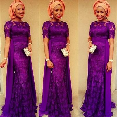 Luxury Purple Short Sleeve Evening Dress UK Floor Length_2