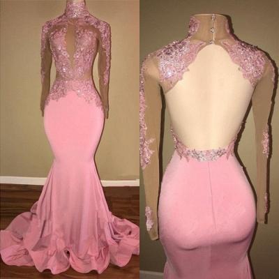 Pink Mermaid Prom Dress UK   Mermaid Long-Sleeve Evening Gowns BA7959_3
