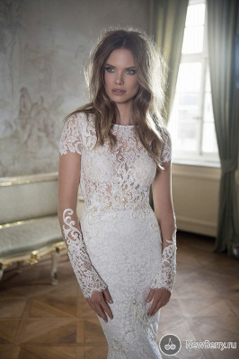 Modern Bateau Cap Sleeve Sexy Mermaid Wedding Dress Open Back With Lace Beadss_1