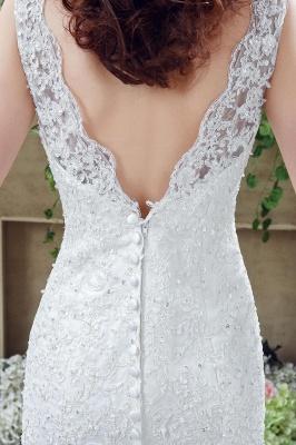Timeless Sexy Mermaid Lace Wedding Dress Zipper Button Back Sweep Train_4